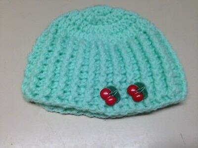 Light Green Babies Beanie with Cherry Buttons Size 0 to 3 months