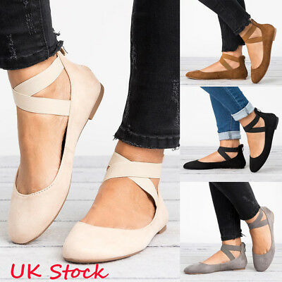 Womens Flat Pumps Suede Ballet Ballerina Crossing Straps Zip Dolly Bridal Shoes