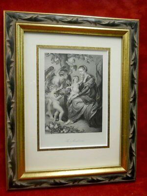 The Madonna Rubens Dresden Gallery Cuadro frame cadre steel engraving