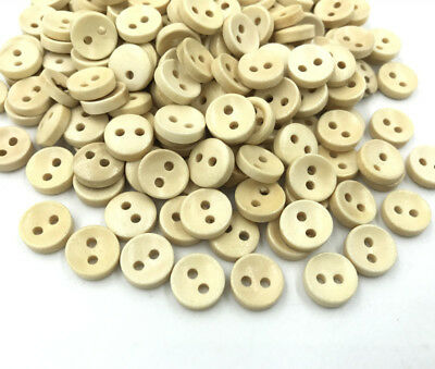 200pcs Wooden buttons beige Round Sewing clothes 2-holes Scrapbooking 10mm