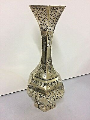 Vintage Hexagonal Chinese Brass Vase Collectible Metal Kitchen Ware