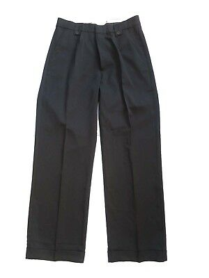 1940s Vintage Style Black Fishtail Look Trousers With Turn Up Hems