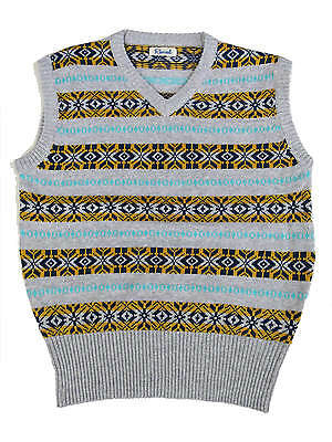 "1940s Forties Vintage Style Wartime WW2 Fairisle Tank Top Grey L 46 - 48"" Chest"