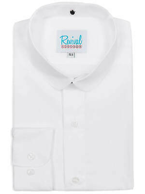 Club Collar Vintage Style White Shirt 1920s 1930s 40s Peaky Blinders 100% Cotton