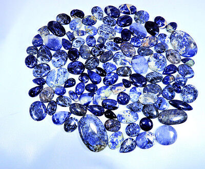 2000Cts. Natural Blue Sodalite Mix Cabochon Loose Gemstone Wholesale 50Pcs Lot