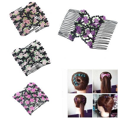 Magic Hair Comb Beads Stretchy Slide Easy Double Clips Comb Women Accessories