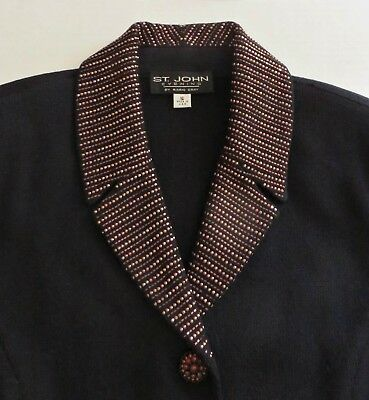 ST. JOHN EVENING BY MARIE GRAY Knit Beaded Black Pant Suit Blazer Sz 10 SPARKLY!
