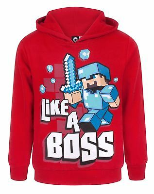Minecraft Like A Boss Boy's Red Hoodie UK Sizes 5 to 12 Years