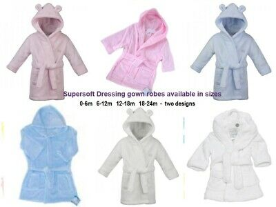Hooded Supersoft Baby bath robe dressing gown - Personalised white pink blue