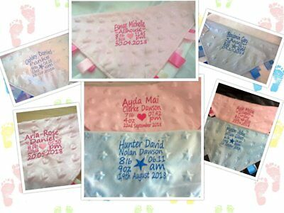 Personalised baby taggy blanket comforter dimple fabric - keepsake birth details