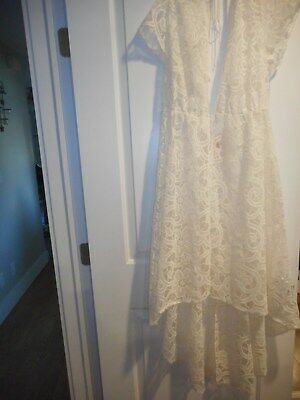 Victoria's Secret Dream Angels Size Xs/s Off-White Embroidered Gown Robe New!