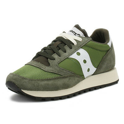 Saucony Mens Trainers Olive Green   Grey Jazz Original Vintage Casual Shoes 6c25a81347c