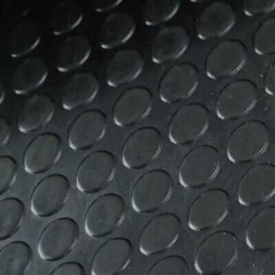 Black Round Studded Rubber Mat Flooring - supplied by the metre (1 metre wide)