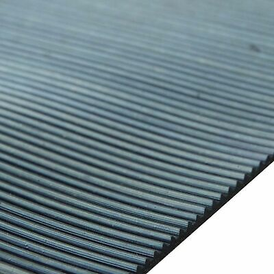 Ribbed Rubber Matting 1.2m Wide X 3mm Thick Anti Slip For Garages, Kennels, Vans