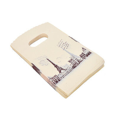 100pcs Yellow Eiffel Tower Packaging Bags Plastic Shopping Bags With Handle FG