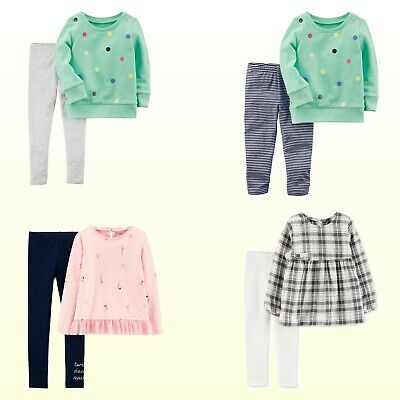 New Carter's Toddler/Preschool Girls 2pc Set Top & Leggings Dots / Dance / Plaid