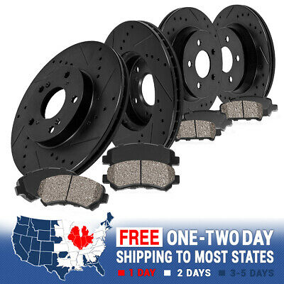 Black Hart *DRILLED /& SLOTTED* Brake Rotors Heavy Duty Pads H1459 FRONT+REAR