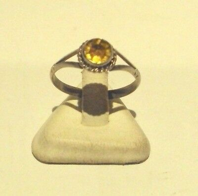 Vintage Excellent Early 20Th Century Silver Ring With Yellow Stone # 744