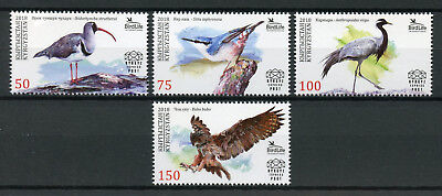 Kyrgyzstan 2018 MNH Birds Nuthatch Eagle Owl 4v Set Owls Cranes Stamps