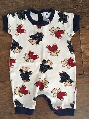 Bhs Vintage In Style Boys Teddy Bear Romper Suit Age 6-9 Mths