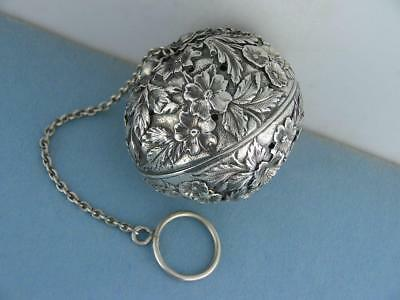 Rare Sterling S KIRK & SON Tea Ball REPOUSSE