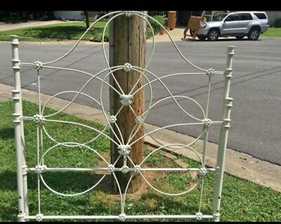 Vintage White Wrought Iron Bed