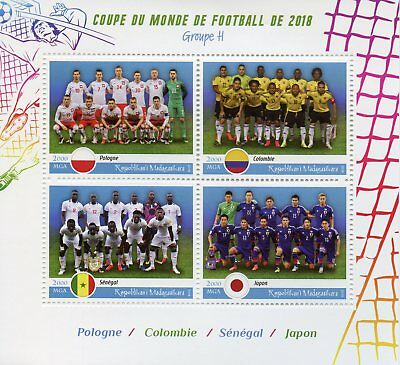 Madagascar 2018 MNH World Cup Football Russia Japan Poland 4v M/S Stamps