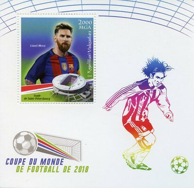 Madagascar 2018 MNH World Cup Football Russia Lionel Messi 1v S/S Soccer Stamps
