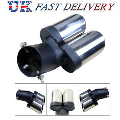 EXHAUST TAIL CHROME TWIN MUFFLER 63 CURVE TIPS NEW 180mm DOUBLE x TRIM PIPE DUAL