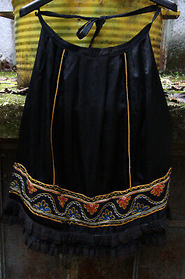 GREEK EPIRUS ANTIQUE TRADITIONAL HANDMADE ZAGORI WEDDING APRON circa 1945 !