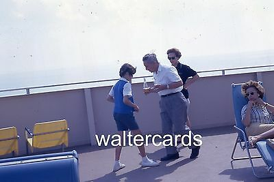 KODACHROME 35mm Slide 1961 1960s SS Aquarama ship deck people man girl dancing