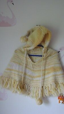 Vintage Yellow Shawl Poncho With Pixie Hood Toddler 2t 3t Sweater