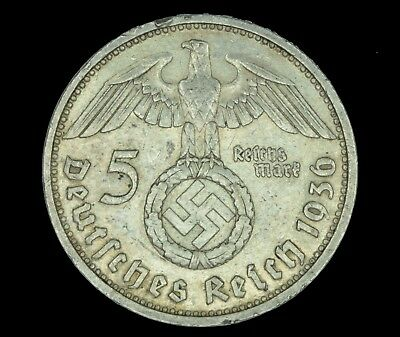 WW2 5 Mark 1936 G Hindenburg Germany Third Reich Nazi Reichsmark Silver