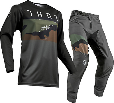 Thor Prime Pro Fighter Charcoal Camo MX Motocross Race Kit Gear Adults