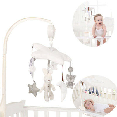 Newborn Baby Kids Rabbit Bear Music Plush Toy Crib Cot Pram Bed Stroller Hanging