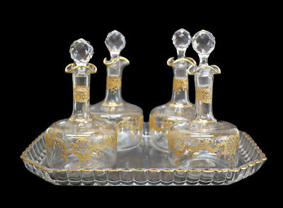 French Continental Art Glass Decanter Set, Hand Painted Gilt Accents