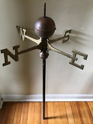 "Antique Weathervane 18"" Directionals Brass N S E W - Copper Balls  Center Post"