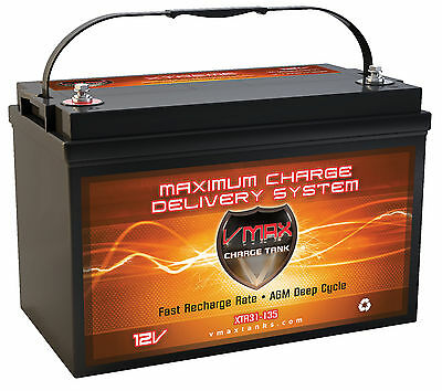 VMAX XTR31-135 for G3 Pontoon s w/group 31 AGM 12V marine deep cycle battery