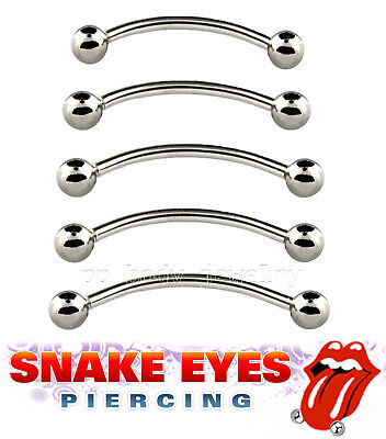 """15 PC Lot 16G 9//16/"""" 3//4/"""" Snake Eyes Piercing Ring Tongue Curved Barbell Steel"""