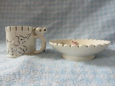 Child's pottery bowl and saucer