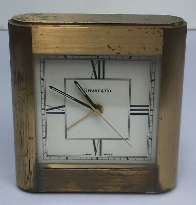 Vintage Tiffany & Co Heavy Brass Quartz Swiss Desk Clock 1