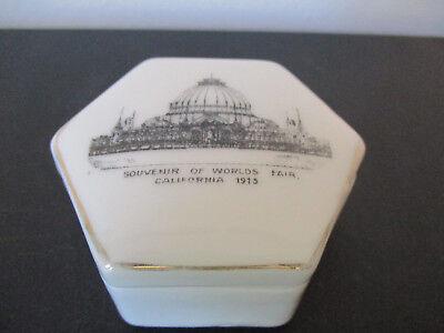 1915 Souvenir Porcelain Lidded Box California Worlds Fair PPIE San Francisco #