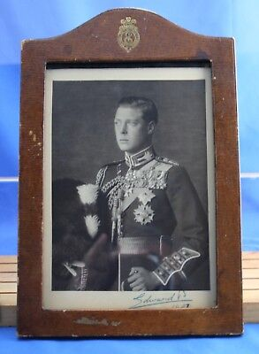 Very RARE Signed Prince Of Wales / King Edward VIII Antique Photo Leather Frame
