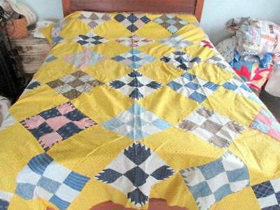 Vintage Cotton Hand Stitched Pieced 9 Patch Quilt Top Yellow & Blue Feed Sacks