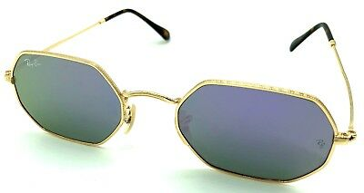 d37f50f3fbcd7 New Ray-Ban RB3556N 001 9O Gold   Blue Octagon Mirror Sunglasses - 53mm