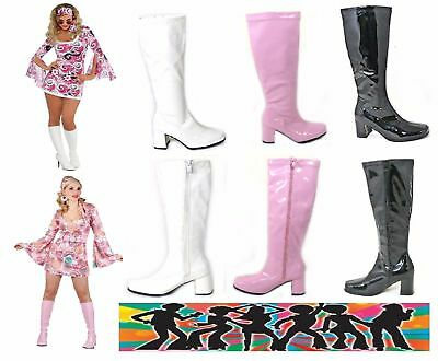 WOMENS LADIES FANCY VINTAGE 1950s 60s & 70s KNEE HIGH GO GO RETRO BOOTS SIZE 4-9
