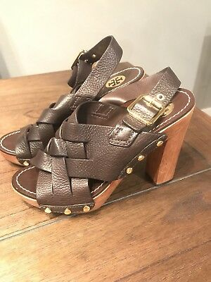 e9eed8d2477 Tory Burch Brown Woven Leather Chunky Wooden Platform Heel Jodie Sandal  Size 7