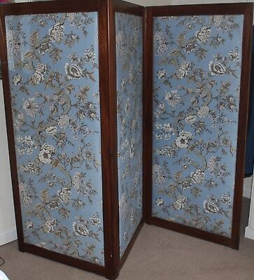 Lovely 3 Panels Silk Fabric Double Sided Mahogany Dressing Screen/Room Divider