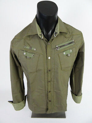 Mens HOUSE OF LORDS Tactical Snap Front Shirt Faded Olive Green with Embroidery