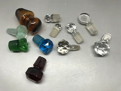 10 Mixed Vintage Glass Stoppers (From Decanters / Bottles Etc) 2.5 - 4 Cm Tall